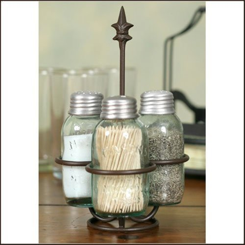 Colonial Tin Works Fleur de Lis Mason Jar Salt, Pepper and Toothpick Caddy,Brown by Colonial Tin Works (Image #1)