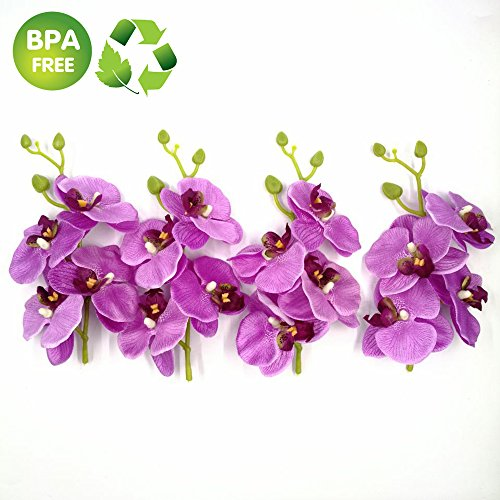 Artificial Flowers Roses 4 Bunch (a Bunch = 4PCS) Handmade Flower Butterfly Bouquet Wedding Home Decoration DIY Wreath Cymbidium Orchid Artificial Plant (Purple)