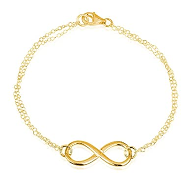 0d475aabad775d Amazon.com: Infinity Bracelet Forever Bracelet- 925 Sterling Silver Plated  in 18k Gold Double Chain (5.5): Jewelry