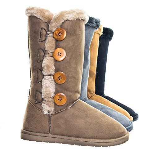 Fur Mukluks (Mukluk Wrap Around Mid Calf Faux Fur Boots, Women Winter Snow Boot)