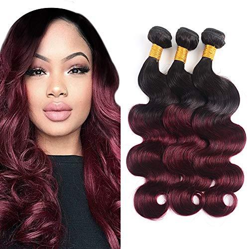 Bk Beckoning Body Wave 1B/99J Human Hair Weave Weft Ombre Peruvian Virgin Hair Body Wave 2 Tone Black To Burgundy Soft Hair Weaving 3 Bundles Extensions 300g (18 20 22 - Hair Ombre Weave Human