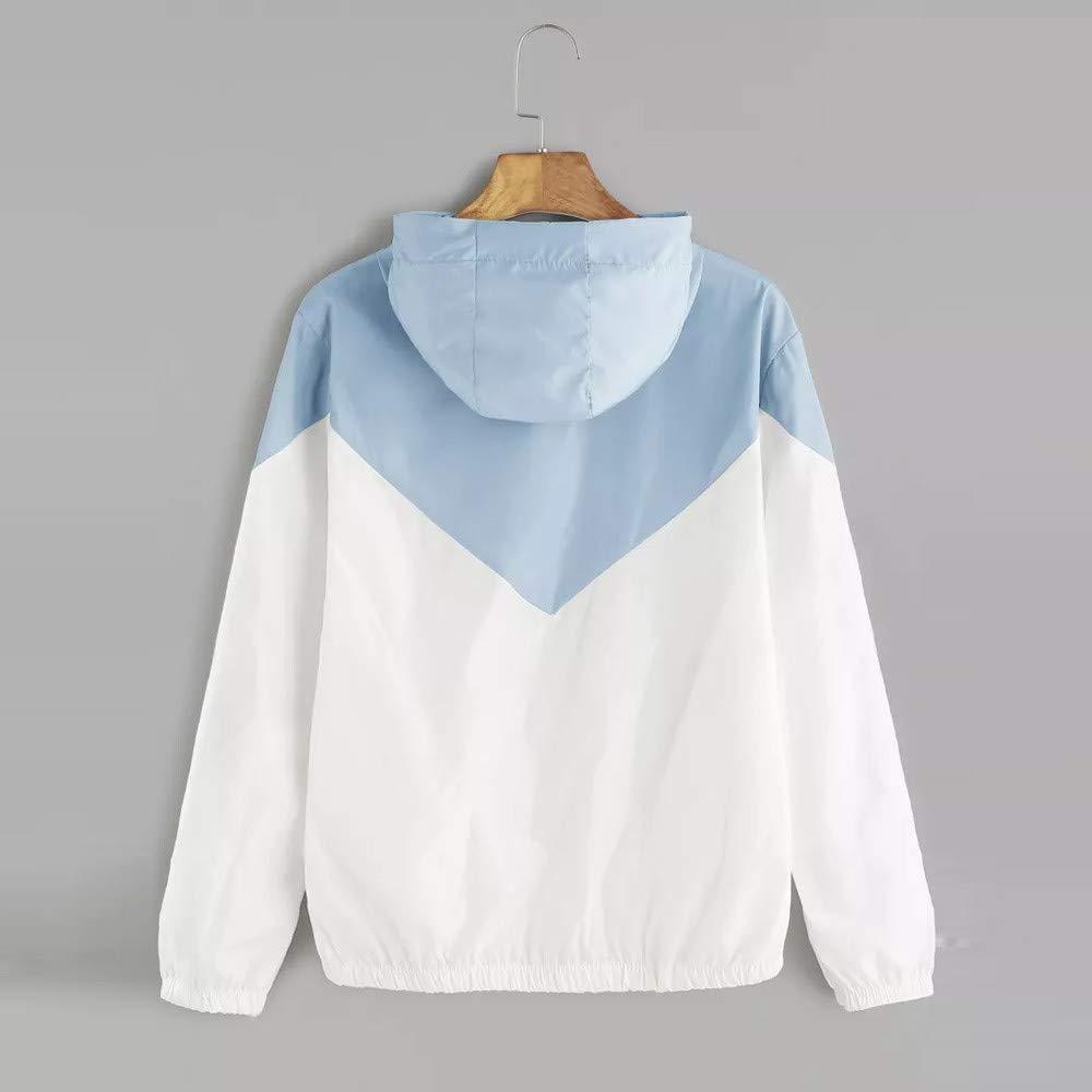 ERLOU Womens Long Sleeve Solid Zipper Hooded Matching Pocket Lightweight Pullover Top Hoodie Sweatshirt Coat