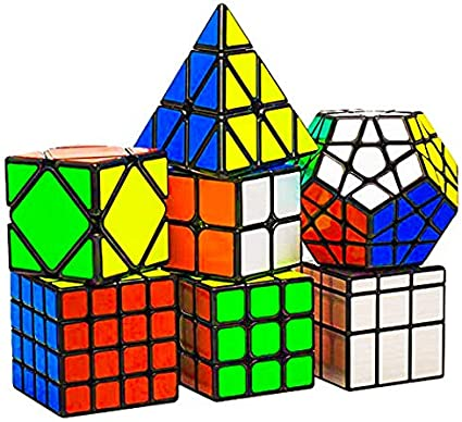 D ETERNAL Rubiks Rubix Cube Set of 2x2 3x3 4x4 Triangle Mirror Megaminx & Skewb Combo