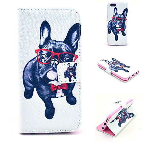 """Iphone 6 Case, Iphone 6 4.7Wallet Case,""""SMYTU(TM)""""[Scratch-Resistant][card slots] [money pocket][stand feature]Premium PU Leather Wallet Leather Cover with [Magnetic Closure] for iphone6[Dog]"""