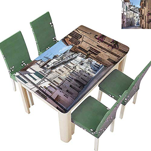 Printsonne Polyester Fabric Tablecloth Italian Apartments in Aged City Countryside Marches Italy Dreamy Path Destination Photo Mu Suitable for Home use 54 x 72 Inch (Elastic Edge)