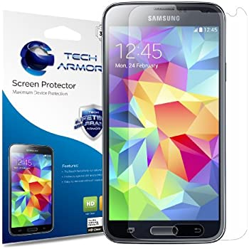 Galaxy S5 Screen Protector, Tech Armor High Definition HD-Clear Samsung Galaxy S5 Film Screen Protector [3-Pack]