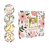 Pearhead Memory Book with Included Baby Belly Stickers, Floral
