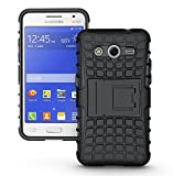 MACC Defender Series Dual Layer Hybrid TPU + PC Kickstand Case Cover for Samsung Galaxy Core 2 / Core2 / SM-G355H / G355H - Black