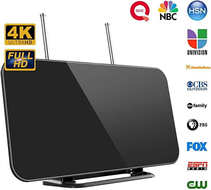 Antena TV, Antena TV Interior HDTV Digital con Amplificador de Señal Inteligente Rango de Recepción 50-80 Millas, 3 M, Soporte Más Canales de TV Gratis 1080P 4K y Todos los Tipos de