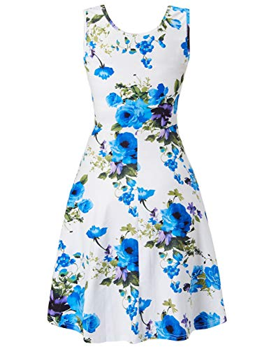 Sleeveless Dresses A Line 3D Blue Holiday Midi Floral Print Fanient Womens Halloween Dress Flared Tank wxYg4HFHq