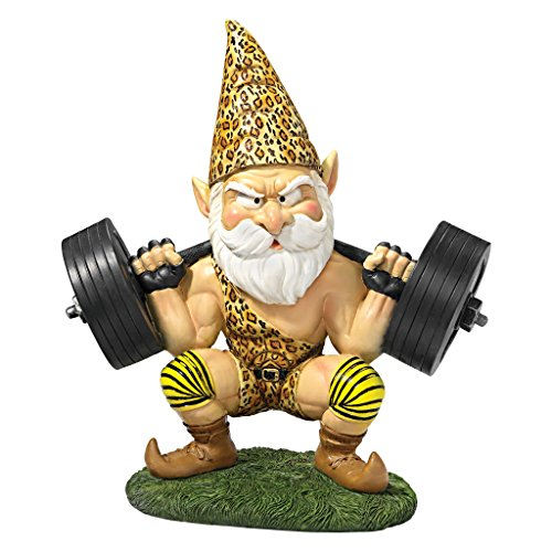 Garden Gnome Statue - Atlas the Athletic Weightlifting Gnome - Outdoor Garden Gnomes - Funny Lawn Gnome Statues