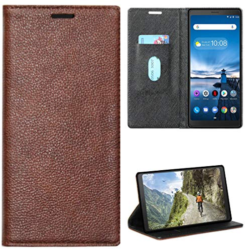 Zaoma Diary Type Pu Leather Flip Case Cover for Lenovo Tab V7 Model Number: ZA4L0020IN / ZA4L0052IN – (Executive Brown)