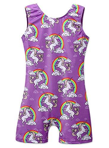 Sparkly Unicorn Leotards for Girls Gymnastics Tank Biketards Dance Practice Unitard (Purple, 130 for 6-7Y)