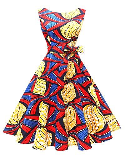 Hanpceirs Women's Boatneck Sleeveless Swing Vintage 1950s Cocktail Dress RedYellowBlue - Dress Classic Womens