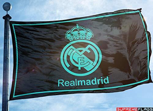 (Real Madrid Flag Banner 3x5 ft Spain Futbol Soccer Bandera Negra Black)