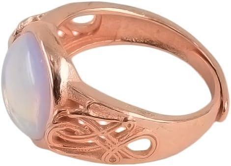 Baoblaze Anillo De Piedras Preciosas Ovales Elegante Diseño Retro - Blanco + Oro Rosa