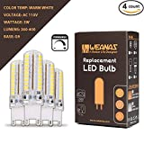 Weanas 4x 5 Watt G9 Base Dimmable LED Light Bulb Dimming Lamp AC 100V-130V Warm White Equivalent to 30W Halogen Track Bulb Replacement