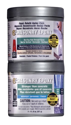 PC Products PC-Masonry Epoxy Adhesive Paste, Two-Part Repair, 8oz in Two Cans, Gray 70079