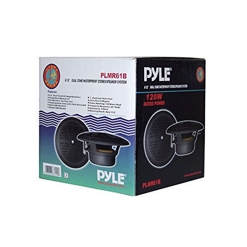 Pyle PLMR61B Dual 6.5'' Waterproof Marine Speakers, Full Range Stereo Sound, 120 Watt, Black (Pair)