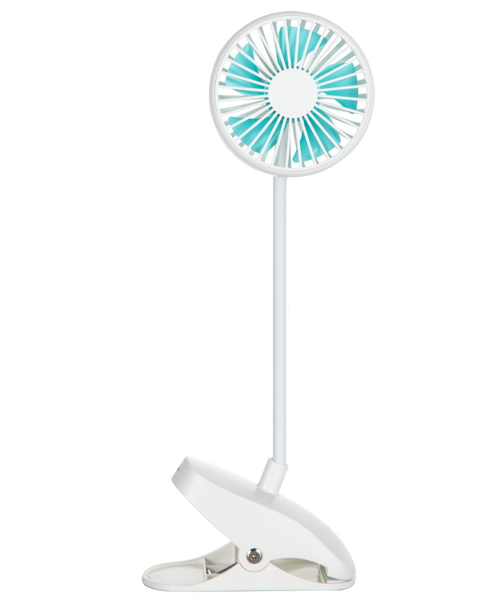 Battery Operated Clip On Mini Desk USB Fan with Rechargeable Battery & USB Cable. 360°Rotation Cooling Portable Small Stroller Fan for Baby, Car Seat, Gym, Travel, Treadmill (White)