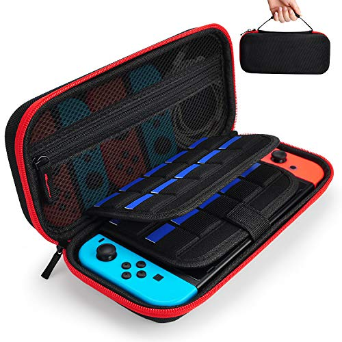 Hestia Goods Case for Nintendo Switch Hard Carry Case with 20 Game Cartridges - Protective Hard Shell Travel Carrying Case Pouch for Nintendo Switch Console & Accessories - Red