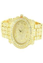 Ice King Yellow Gold Finish Lab Diamond Brick Desgin Men Classy Watch
