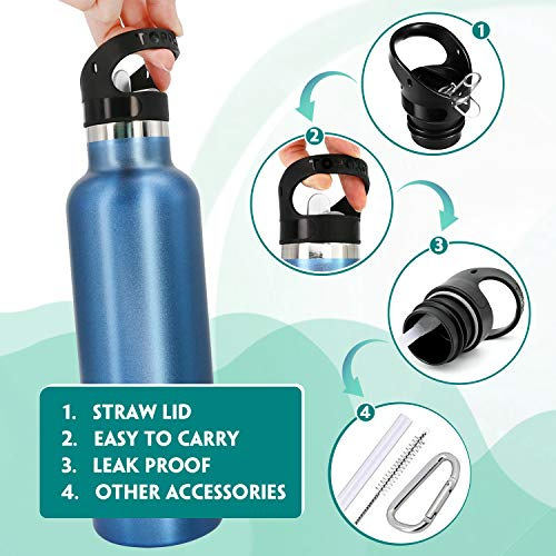 Standard Mouth Straw Lid and Sport Cap 3PC Replacement for Hydro Water Flask 12, 18, 21, 24OZ and Simple Modern Ascent Narrow Mouth Bottle