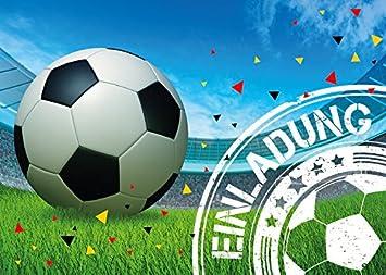 12 Einladungskarten Kindergeburtstag Jungen Fussball Geburtstag
