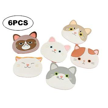 Lindo Gato Estera de la Taza de Goma de Silicona Posavasos para Bebidas Casa Cocina Decoración Juego de 6: Amazon.es: Productos para mascotas