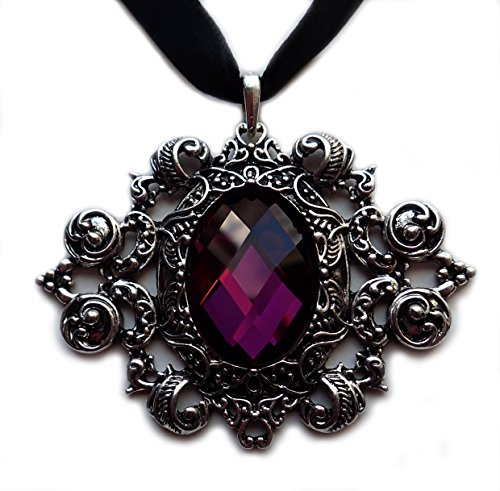 (Moon Maiden Jewelry Gothic Black Ribbon Choker Antiqued Silver Pendant: Amethyst Purple)