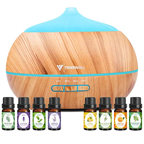 Essential Oil Diffuser,500ML Ultrasonic Diffuser with 8 Aromatherapy Essential Oils. Aromatherapy Diffuser 7 Color LED Lights,Waterless Auto Power Off,Cool Humidifier Mist for home,office(Yellow)