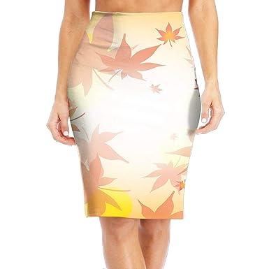 6aa2b55aa5 Women's Classic Beautiful Maple Tree Knee Length Dress Long Pencil Skirt at  Amazon Women's Clothing store: