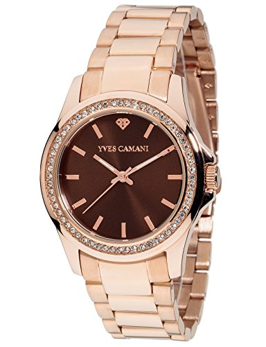 Yves Camani Montpellier Women's Wrist Watch Quartz Analog Stainless Steel Rosegold Brown Dial