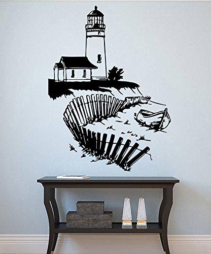 Lighthouse Wall Vinyl Decal Beacon Vinyl Sticker Nautical Decals Home Decor  Bathroom Decor (22lse)