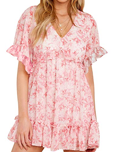 AGQT Summer Women Short Sleeve Print Dress V Neck Casual Short Ruffled Wrap Dresses Light Pink Sakura S