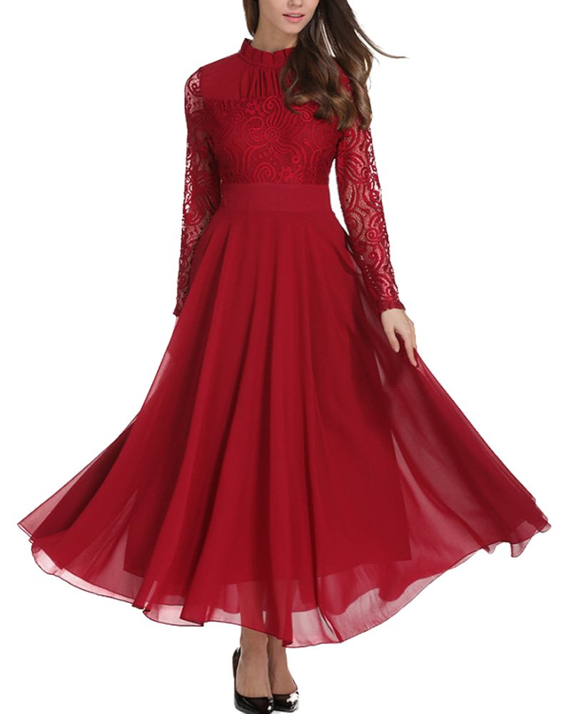 Aofur Women's Long Sleeve Chiffon Maxi Dresses Casual Floral Lace Evening Cocktail Party Long Dress (XXX-Large, Red)