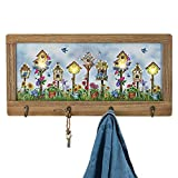 Collections Etc Birdhouse Lighted Canvas Wall Decor with Key Hooks, Wood Frame