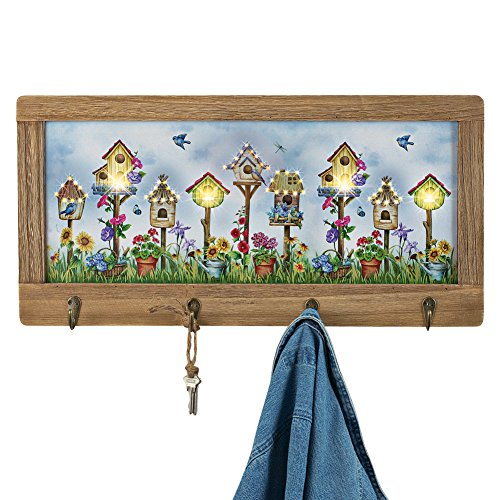 Collection Canvas Mount (Collections Etc Birdhouse Lighted Canvas Wall Decor with Key Hooks, Wood Frame)