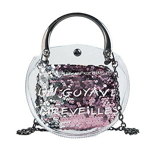 Fashion New Women Summer Female Small Pvc Quality Round Transparent 2018 High Chain Gwqgz Handbag Shoulder Bags Bag Sequin IfXP5Y