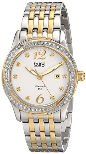 Burgi Women's BUR102TTG Silver and Yellow Gold Quartz Watch with White Dial and Silver and Yellow Gold - Two Tone Mop Bracelet Watch
