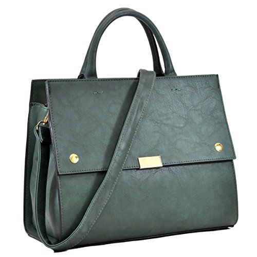 Ladies Briefcase Green (MKY Women Flapover Briefcase Leather Messenger Bag Designer Purse w/ Removable Shoulder Strap Dark Green)