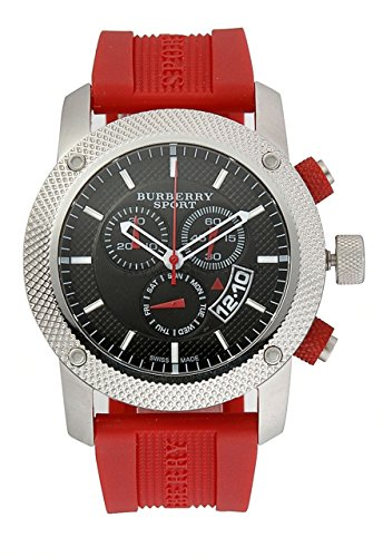 Burberry Sports SWISS LUXURY Men Unisex Women 44mm Round Stainless Steel Chronograph Watch Red Silicon/Rubber Band Black Date Dial BU7706