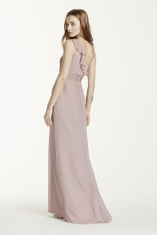 David\'s Bridal One Shoulder Chiffon Bridesmaid Dress With Cascading ...