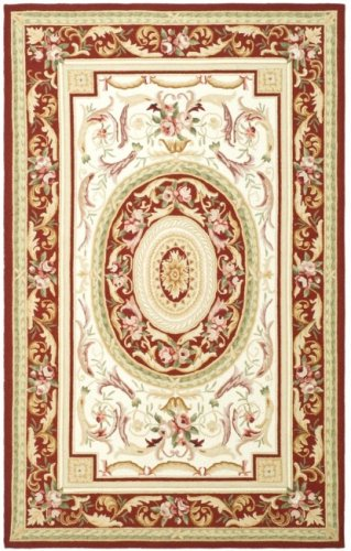 Safavieh Chelsea Collection HK72A Hand-Hooked Ivory and Burgundy Premium Wool Round Area Rug (5'6
