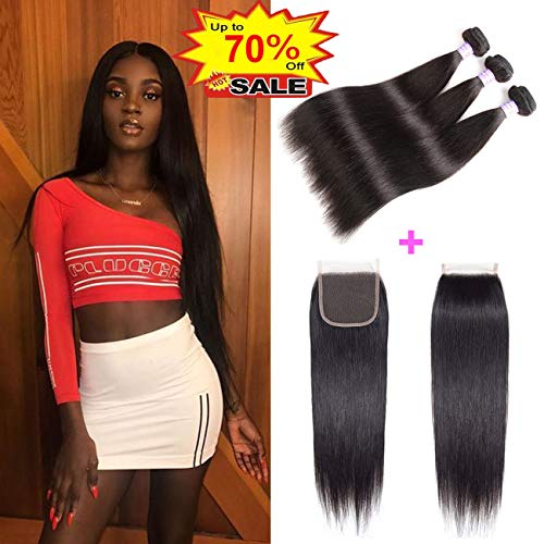 AMZTMY Brazilian Straight Hair 3 Bundles with Closure 100% Unprocessed Virgin Human Hair Bundles with 4×4 Lace Closure Remy Hair Weave Extensions Natural Color (10 12 14+10 Closure) (The Best Weave Hair For Sew Ins)