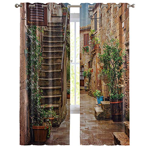 Fortune house Tuscan Decor Curtains, View of Old Mediterranean Street with Stone Rock Houses Italian City Rural Culture Print, Window Drapes 2 Panel Set, Living Room Bedroom,84W x 63L Inch, Multi
