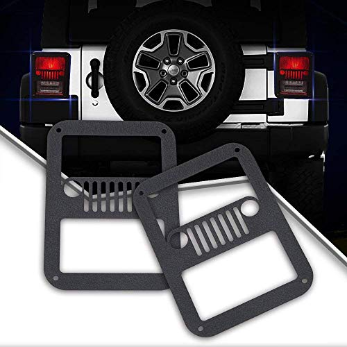 Black KEENAXIS Pair Tail Light Cover Rear Brake Light Guards Cover Protector for 2007-2018 Jeep Wrangler JK /& Unlimited