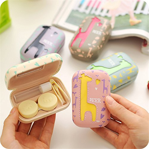 Travel Portable Cute Deer Animal pattern Contact Lens Case Eye Care Kits Holder with Mirror Mini (C2) by Jusxout (Image #2)