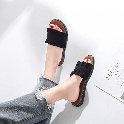 Coréen Style Sandale Doux Dentelle Été Champignon Black Chaussures De avec Pantoufles De Plat GUANG Black Conception 36 Tempérament 39 Littéraire XING taE5wqxf