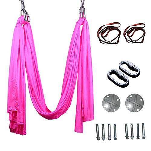Egojin Elastic 5 meters 2016 Aerial Yoga Hammock Swing Latest Multifunction Anti-gravity Yoga belts for yoga training Yoga for sporting (pink)